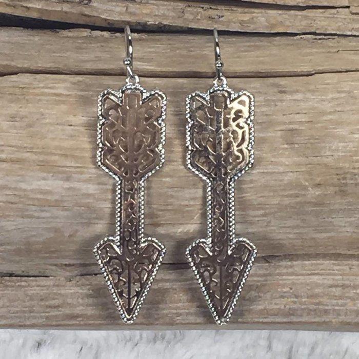 Gold & Silver Filgree Arrow Earrings