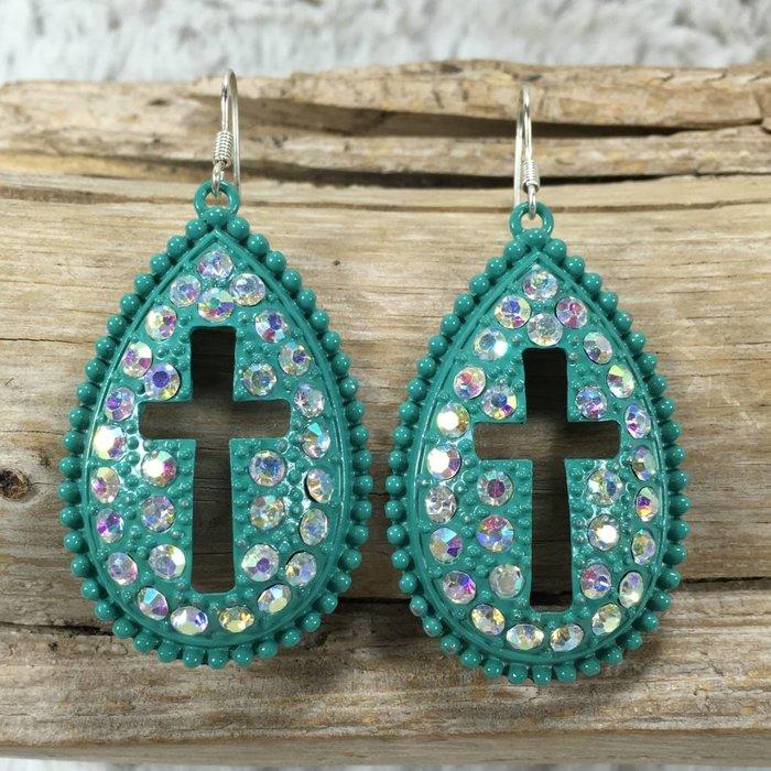 AB Cross Teardrop Earrings - Turquoise