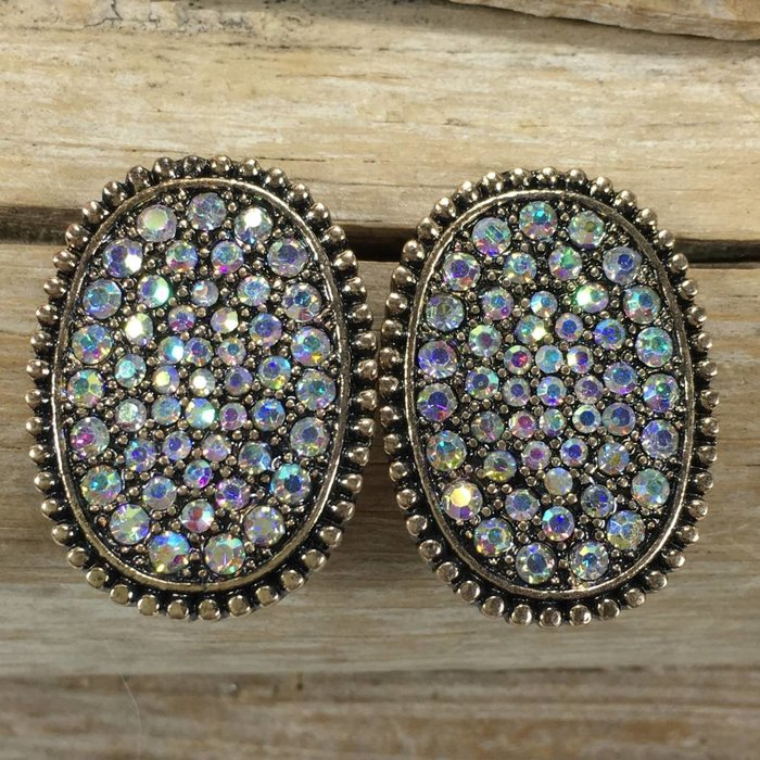 Oval Gold Studs with AB Stones