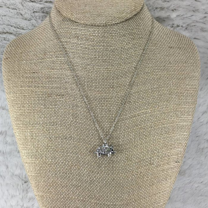 Small Bling Pig Silver Necklace