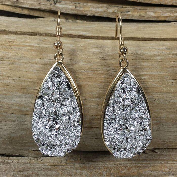 Silver Teardrop Druzy Earrings
