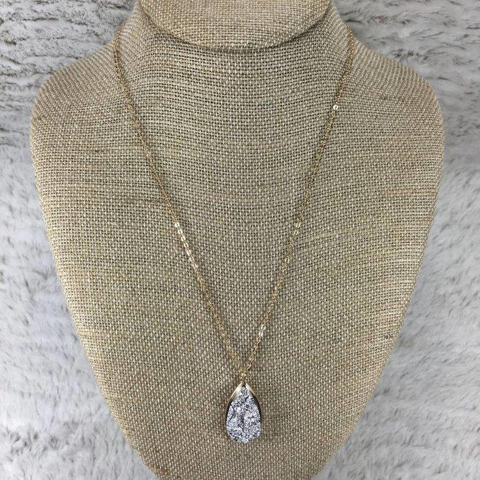 Silver Teardrop Druzy Necklace