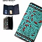 Black & Turquoise Tooled Design Collection Secretary Style Wallet