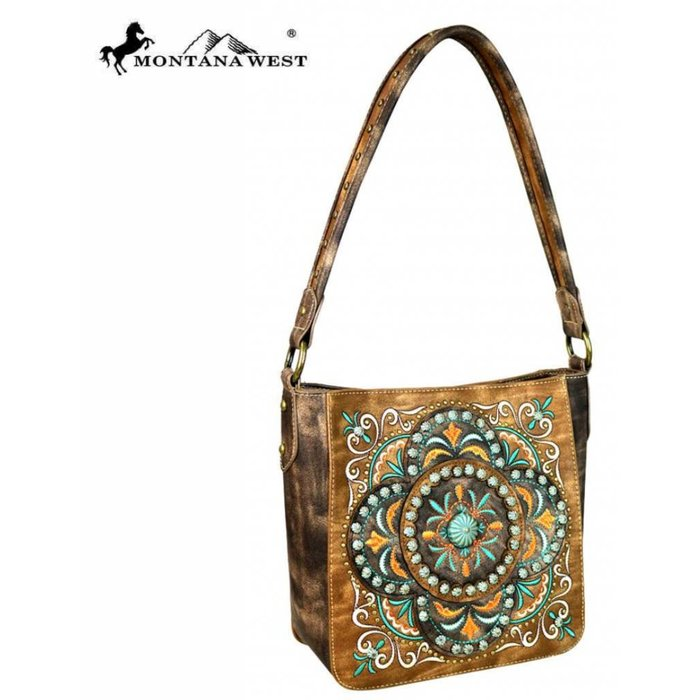 Brown Montana West Embroidered Collection Hobo Handbag