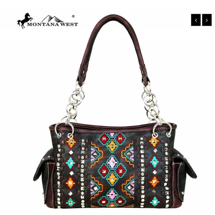 Black Aztec Montana West Embroidered Collection Handbag