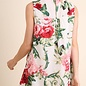 Floral Print Sleeveless Dress with Lace Neckline