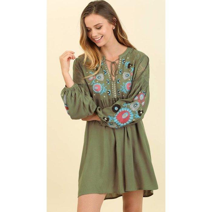 Olive Floral Embroidered Dress