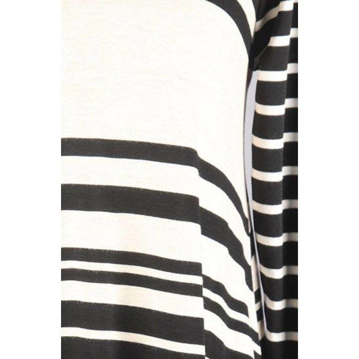 Black & White Striped 3/4 Sleeve Tunic