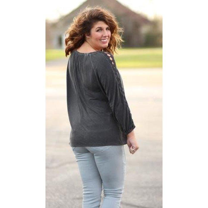Black Crochet Sleeve Top