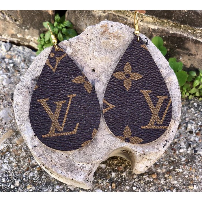 Authentic LV Leather Earrings 2.5 inch