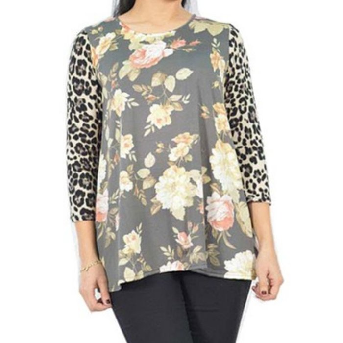 Leopard Long Sleeve Floral Top