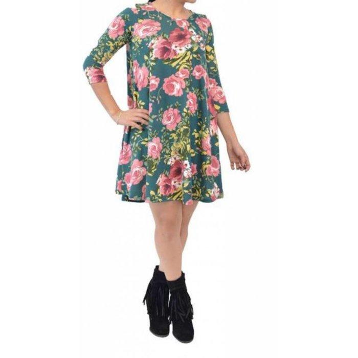 Green Floral Dress w/Pockets