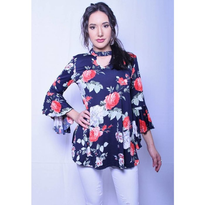 Navy Floral Choker Bell Sleeve Top