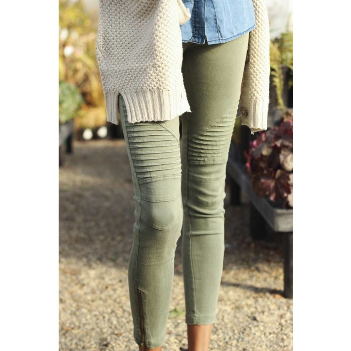 Olive Motto Jeggings with Zipper