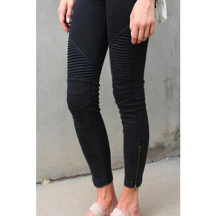 Black Motto Jeggings with Zipper