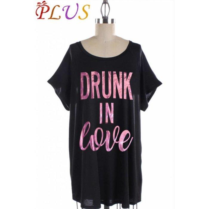 Plus Black Drunk in Love Short Sleeve Graphic Tee