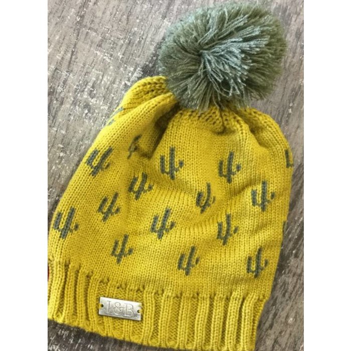 Mustard Cactus Beanie with Pom