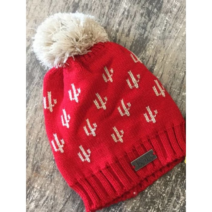 Red Cactus Beanie with Pom
