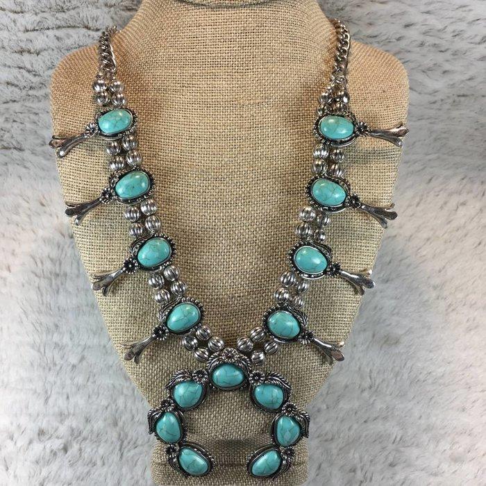 Flower Squash Necklace Set - Silver/Turquoise