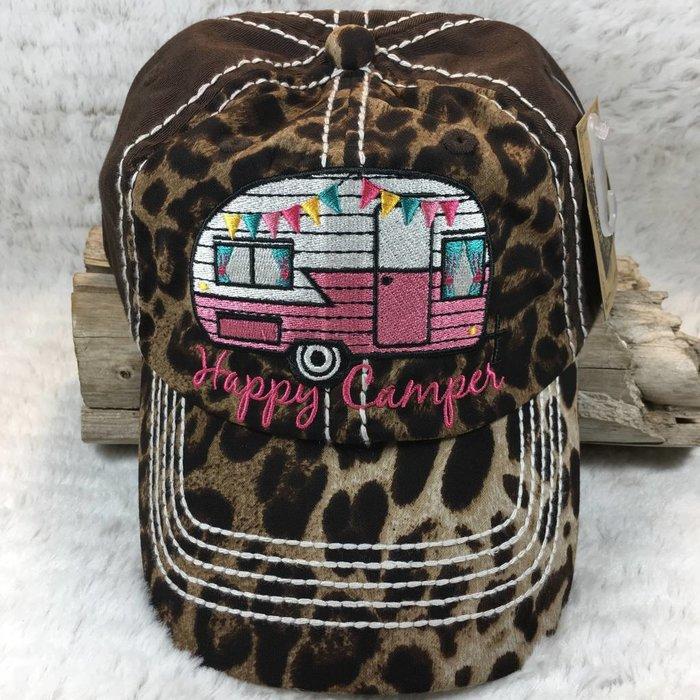 Happy Camper Brown Leopard Hat