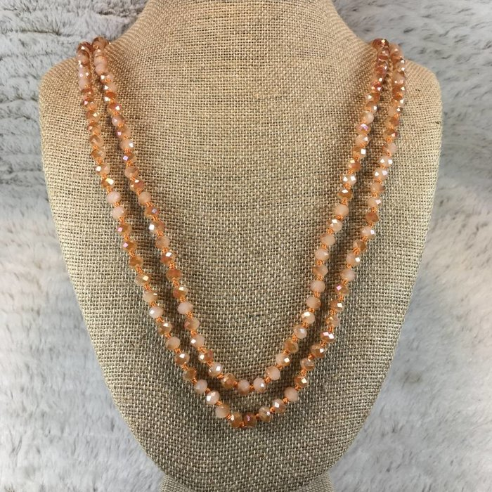 "Peach Crystal 60"" Knotted Long Necklace"