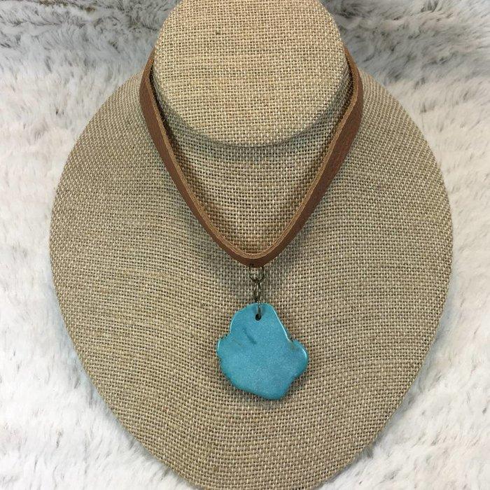Turquoise Stone Lt Brown Choker
