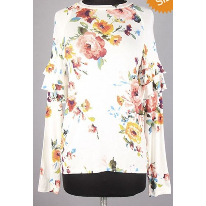 Rose Floral Ruffle Sleeve Top
