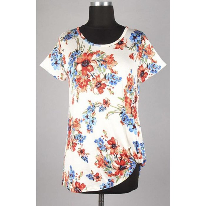Summer Floral Knit Twist Top