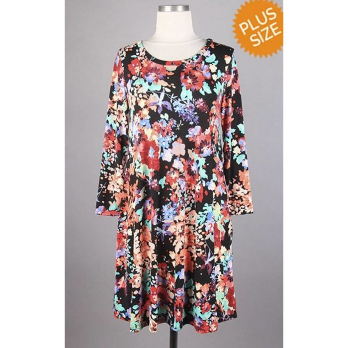 PLUS Black Floral Swing Dress with Pockets