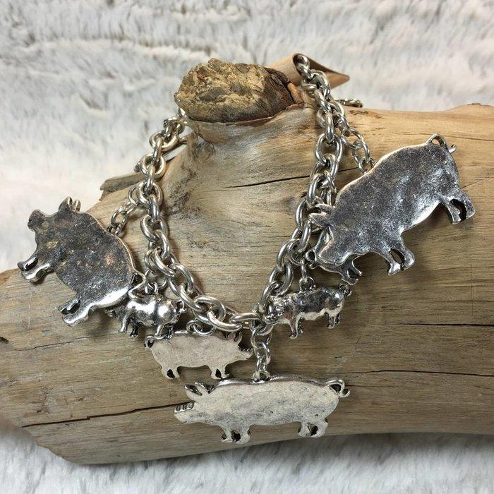 Silver Pig Charm Bracelet