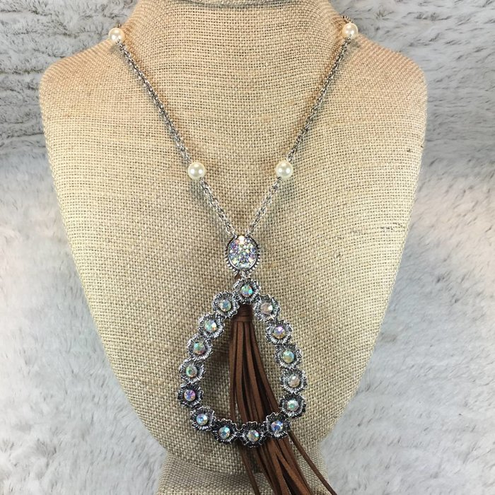 Silver Teardrop Flower AB Stone Crystal Necklace with Tassel