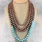 4-Strand Bronze Navajo Pearl with Turquoise Bead Set