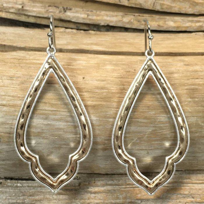 Silver & Gold Open Damask Earrings