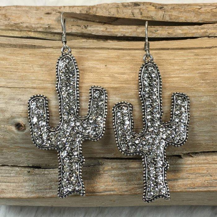 Crystal Clear Cactus Silver Earrings