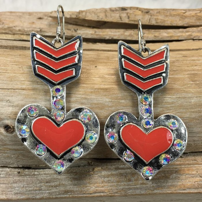 Arrow Heart Earrings - Silver/Red