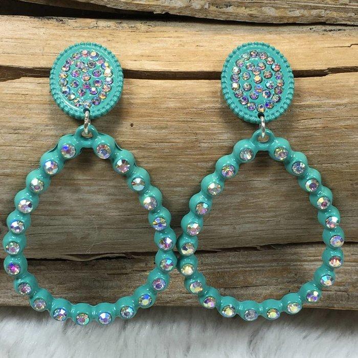 Turquoise  AB Teardrop Stud Earrings