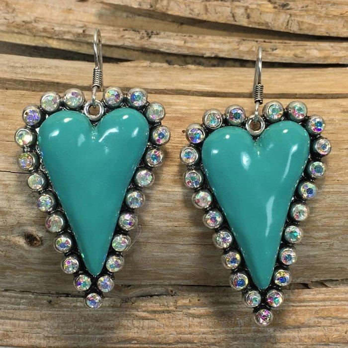 Turquoise Skinny AB Heart Bling Earrings