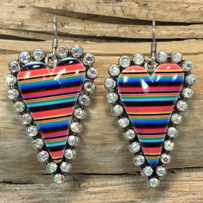 Serape Skinny AB Heart Bling Earrings