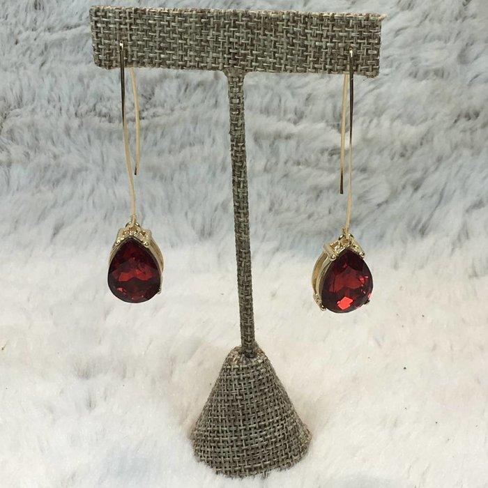 Red Rhinestone Gold Long Teardrop Earrings