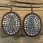 Copper Round Bling AB Stone Earrings
