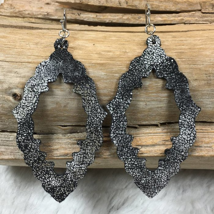 Silver & Black Distressed Damask Leather Earrings