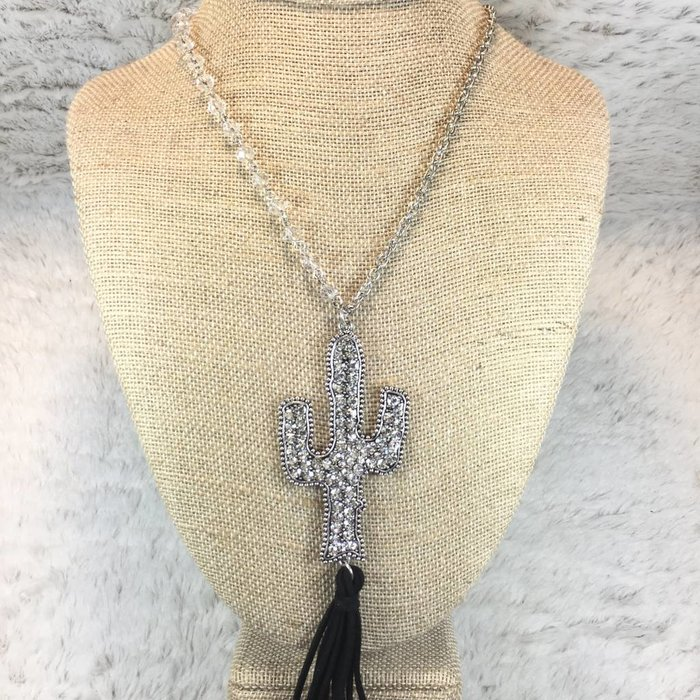 Clear Silver Crystal Cactus Tassel Necklace