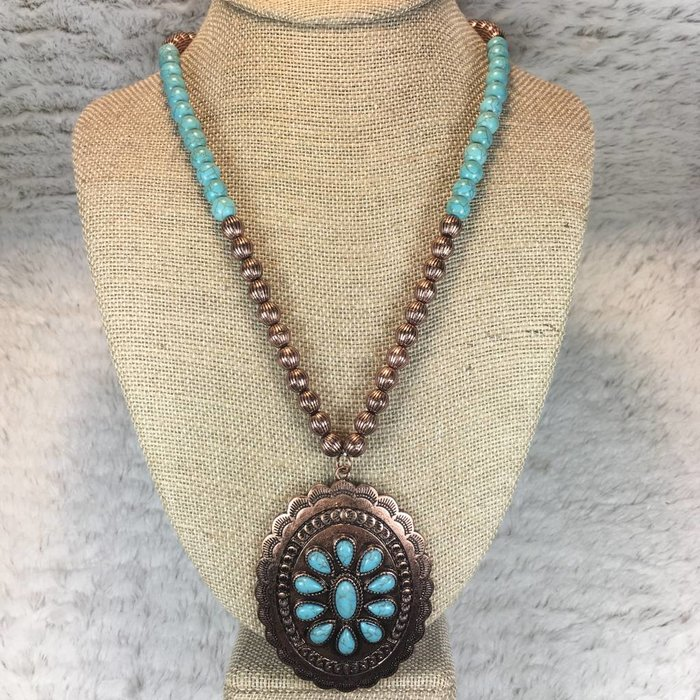 Long Turquoise & Copper Beaded Necklace Set