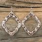 Rose Gold & Silver Damask Earrings