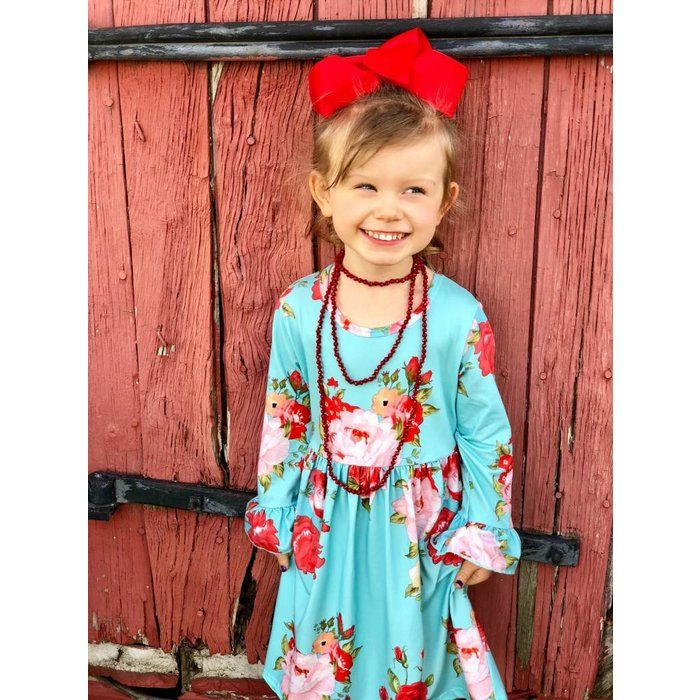 Kids Turquoise Floral Ruffle Sleeve Dress