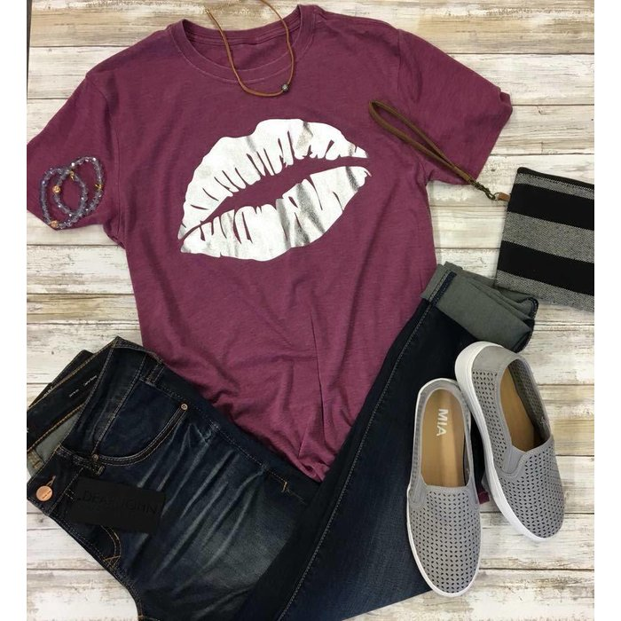 Silver Kisses on Distressed Wine T-Shirt