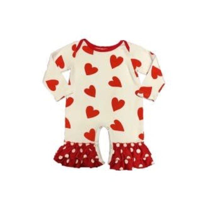 Valentine Heart Ruffle Bottom Romper