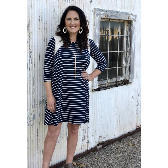 Navy Striped Lace Accent Dress