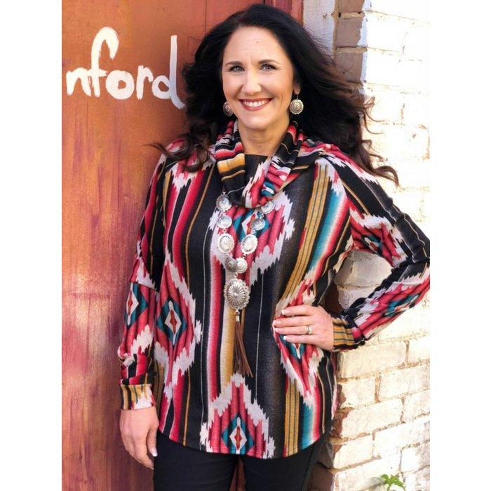 Multi Southwest Style Long Sleeve Sweater
