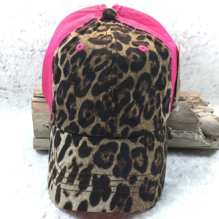 Leopard & Pink Pony Tail Holder Cap